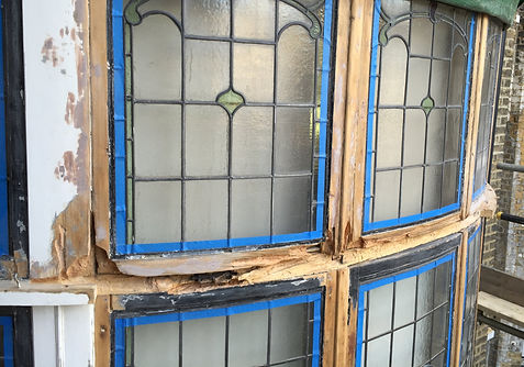 Wet rot on windows removed ready for repairs.