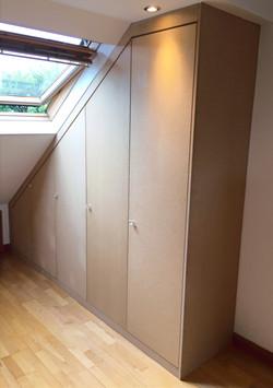 MDF angled wardrobe built unpainted.