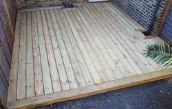 Decking built with mitred border.