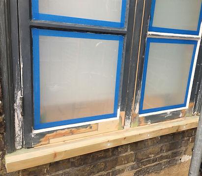Casement window repair, new timber spliced in & dryflex repair. Window restored reasy for painting.
