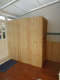 Stud-wall with v-board cladding.