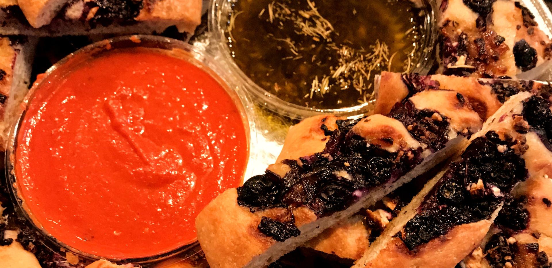 Blueberry Feta and Bourbon Carmelized Onion Focaccia