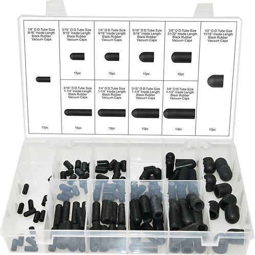 Swordfish 20020 - 115pc Black Rubber Vacuum Cap Assortment