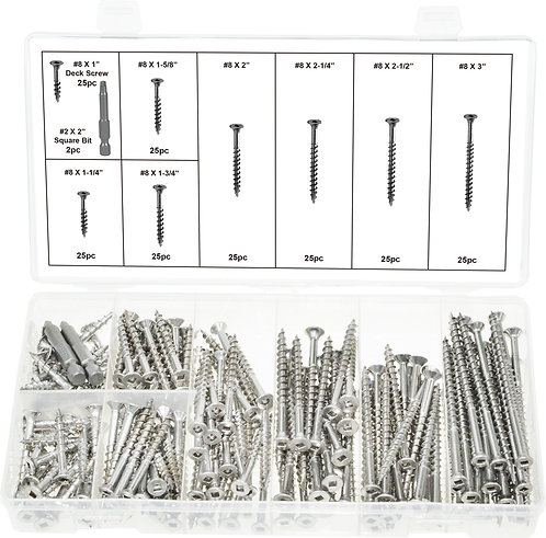 SF 32620 - Stainless Steel Square Drive Type 17 Wood & Deck Screw Assortment