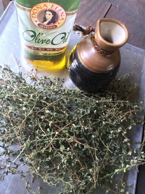 Air-drying Italian oregano for an idea of making an infused oregano oil.