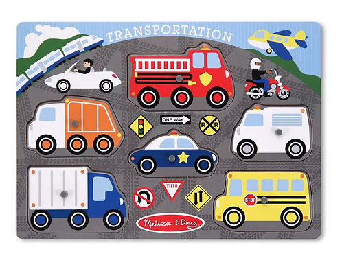 Wooden Peg Puzzle: Transportation