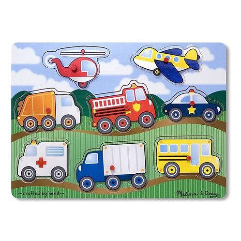 Wooden Peg Puzzle: Vehicles