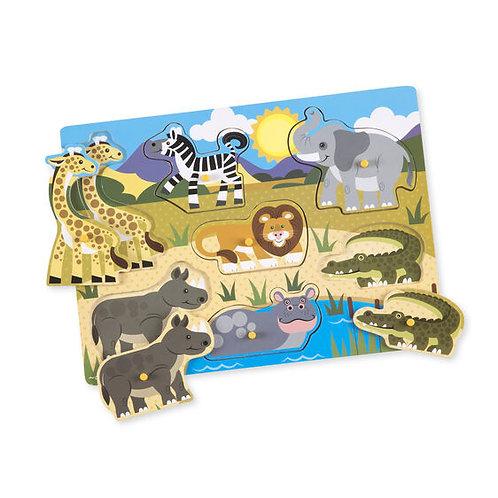 Wooden Peg Puzzle: Safari