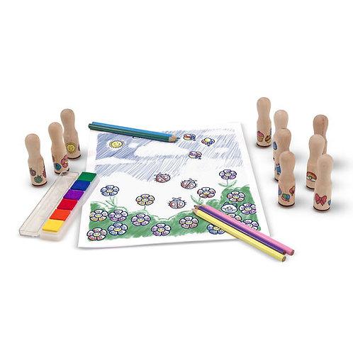 Wooden Stamp Set - Deluxe Happy Handles