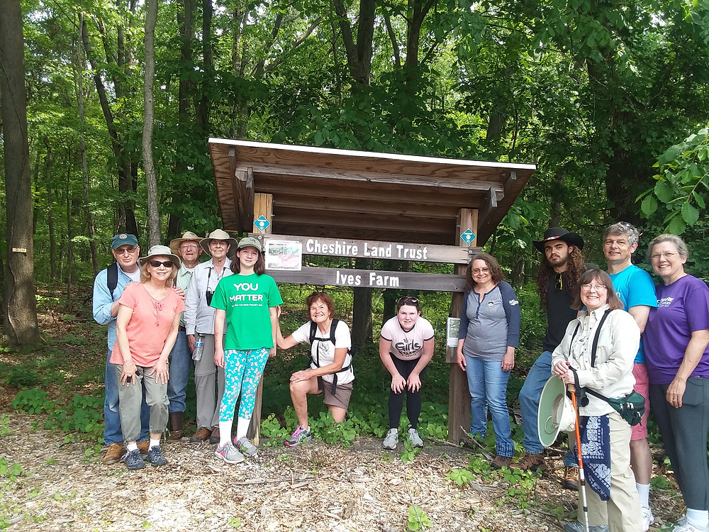"CT Trails Day Hike group at the Ives Woodlands trailhead at the North Pond Entrance to Ives ""blue trail."""