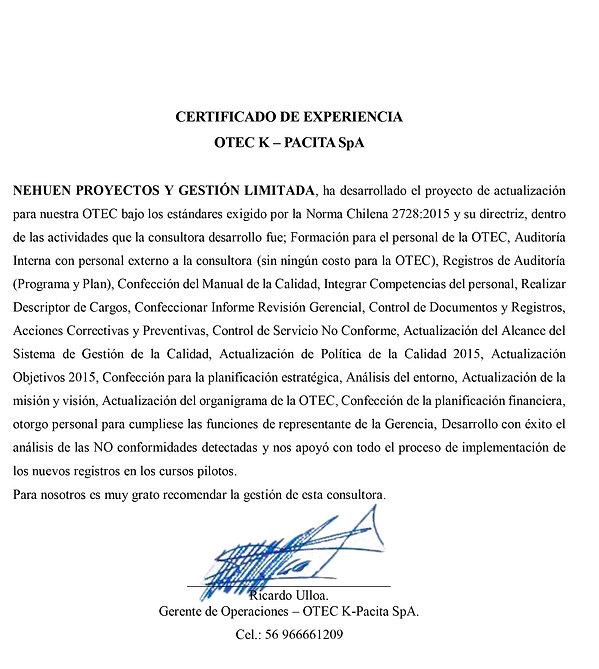 CERTIFICADO EXPERIENCIA NEHUEN-K.PACITA