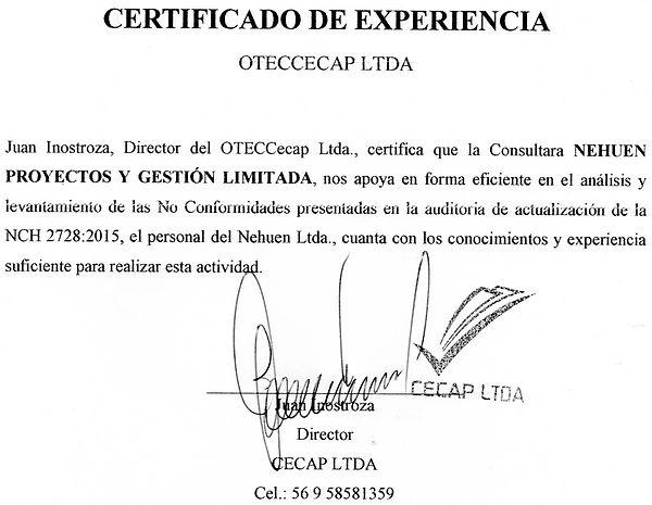 CERTIFICADO EXPERIENCIA NEHUEN-OTEC CECAP
