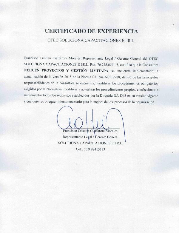 CERTIFICADO EXPERIENCIA NEHUEN-SOLUCIONA CAPACITACIONES