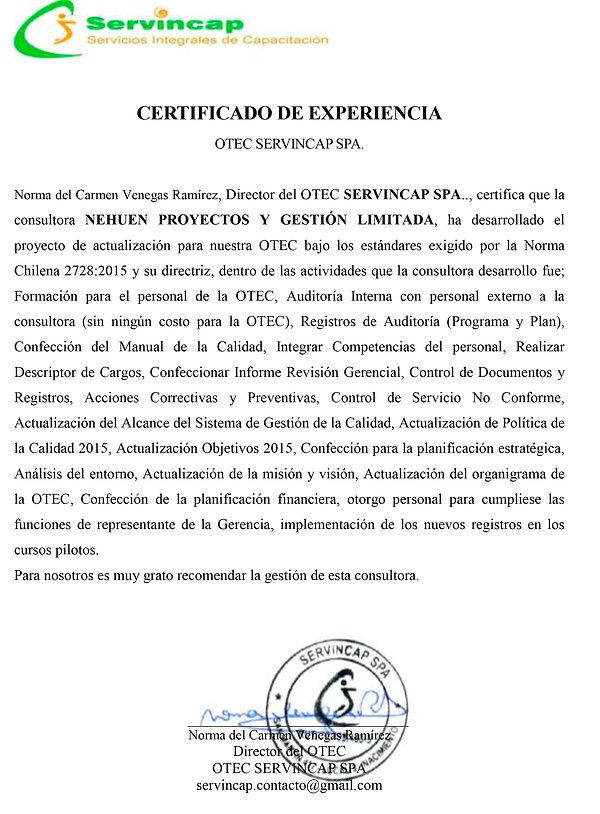 CERTIFICADO EXPERIENCIA NEHUEN-SERVINCAP
