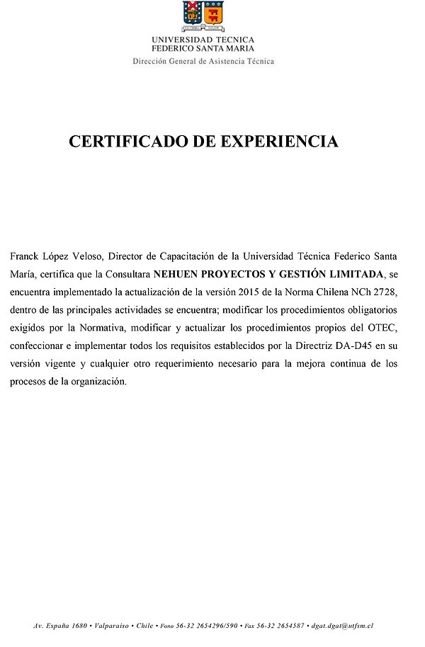 CERTIFICADO EXPERIENCIA NEHUEN- UTFSM-OTEC