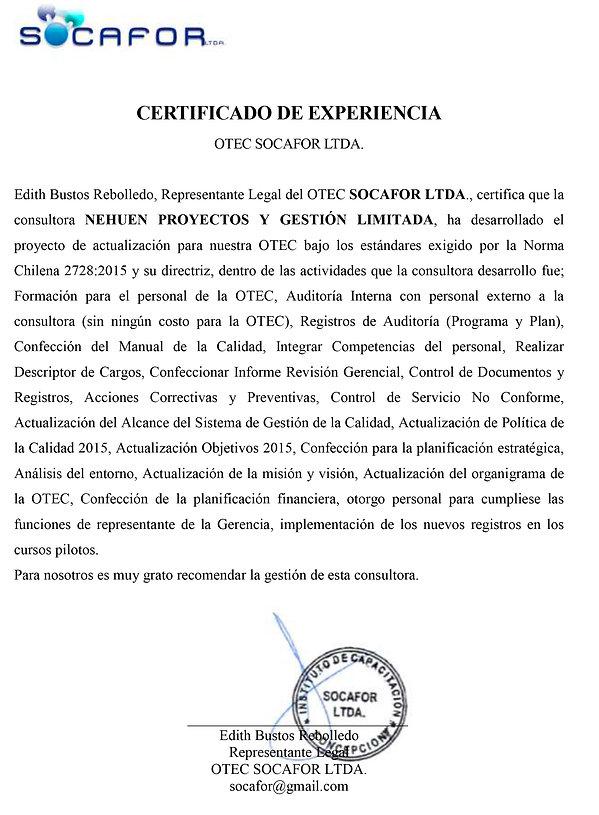 CERTIFICADO EXPERIENCIA NEHUEN-SOCAFOR