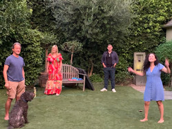 Stuart, Julia, Max, and Sarah socially distancing in LA.