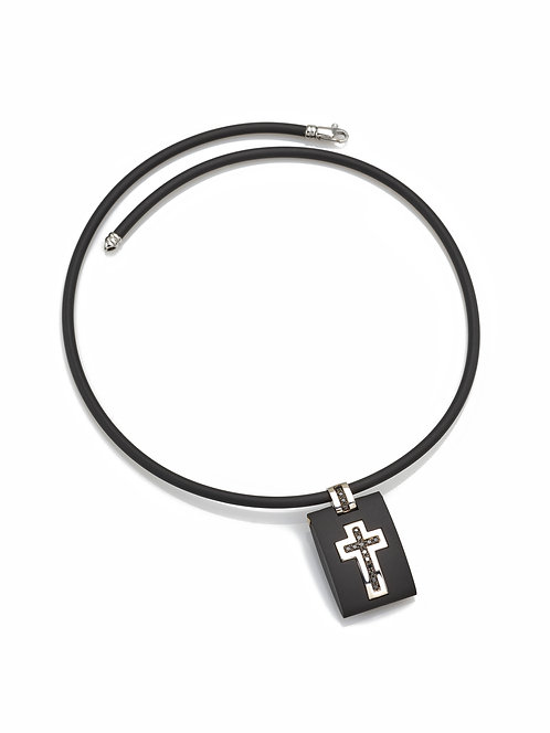Croce in oro bianco 18kt. diamanti neri e caucciù hi-tech.