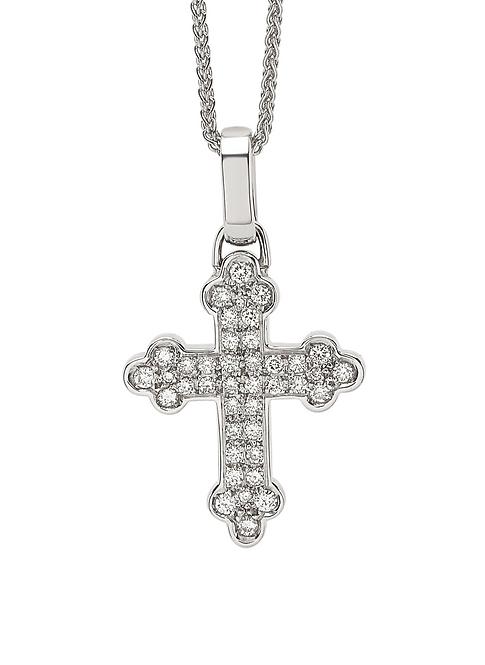 Collana Croce in oro bianco e diamanti.