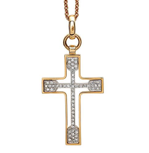 Croce in oro giallo 18kt. e diamanti bianchi naturali.