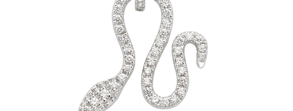 Ciondolo serpente in oro bianco e diamanti bianchi