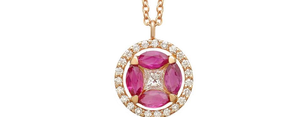Ciondolo in oro rosa diamanti bianchi e rubini