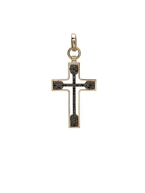 Croce in oro rosa 18kt. e diamanti neri naturali.