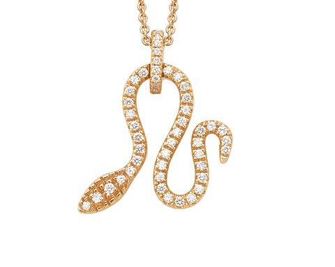 Ciondolo serpente in oro giallo e diamanti bianchi