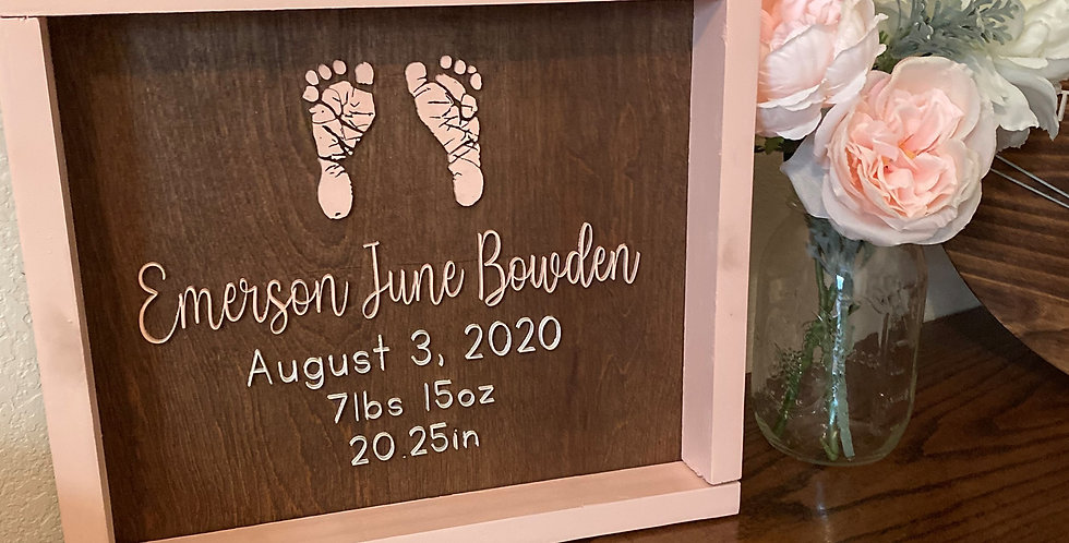 Birth Announcement Sign with Footprints