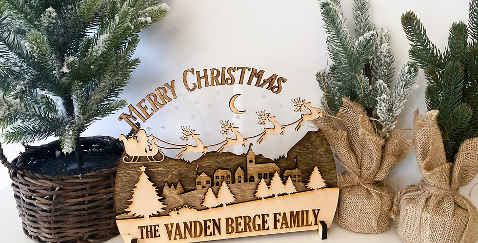 Merry Christmas Layered Scene Wooden Sign