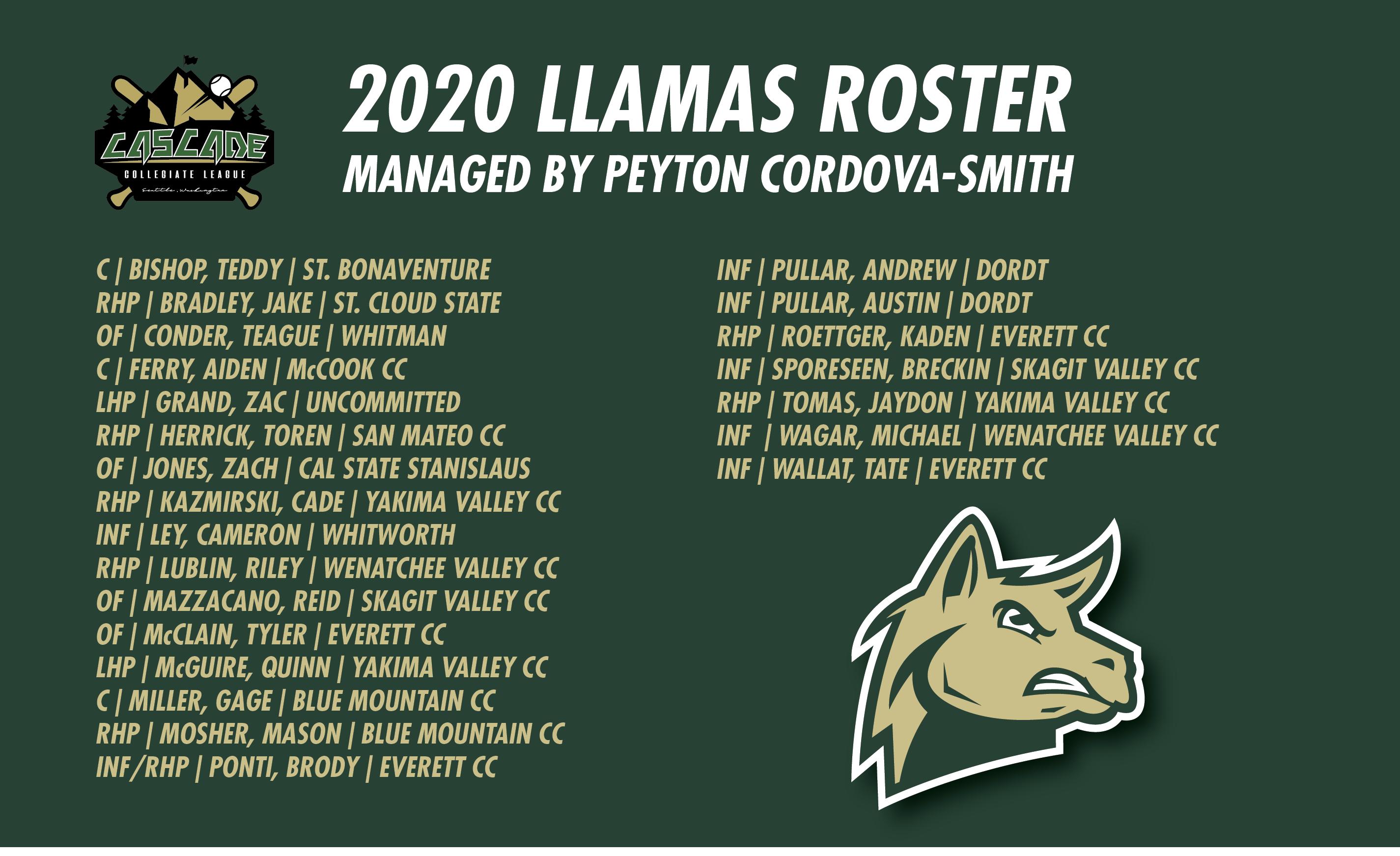 2020 LLAMAS ROSTER