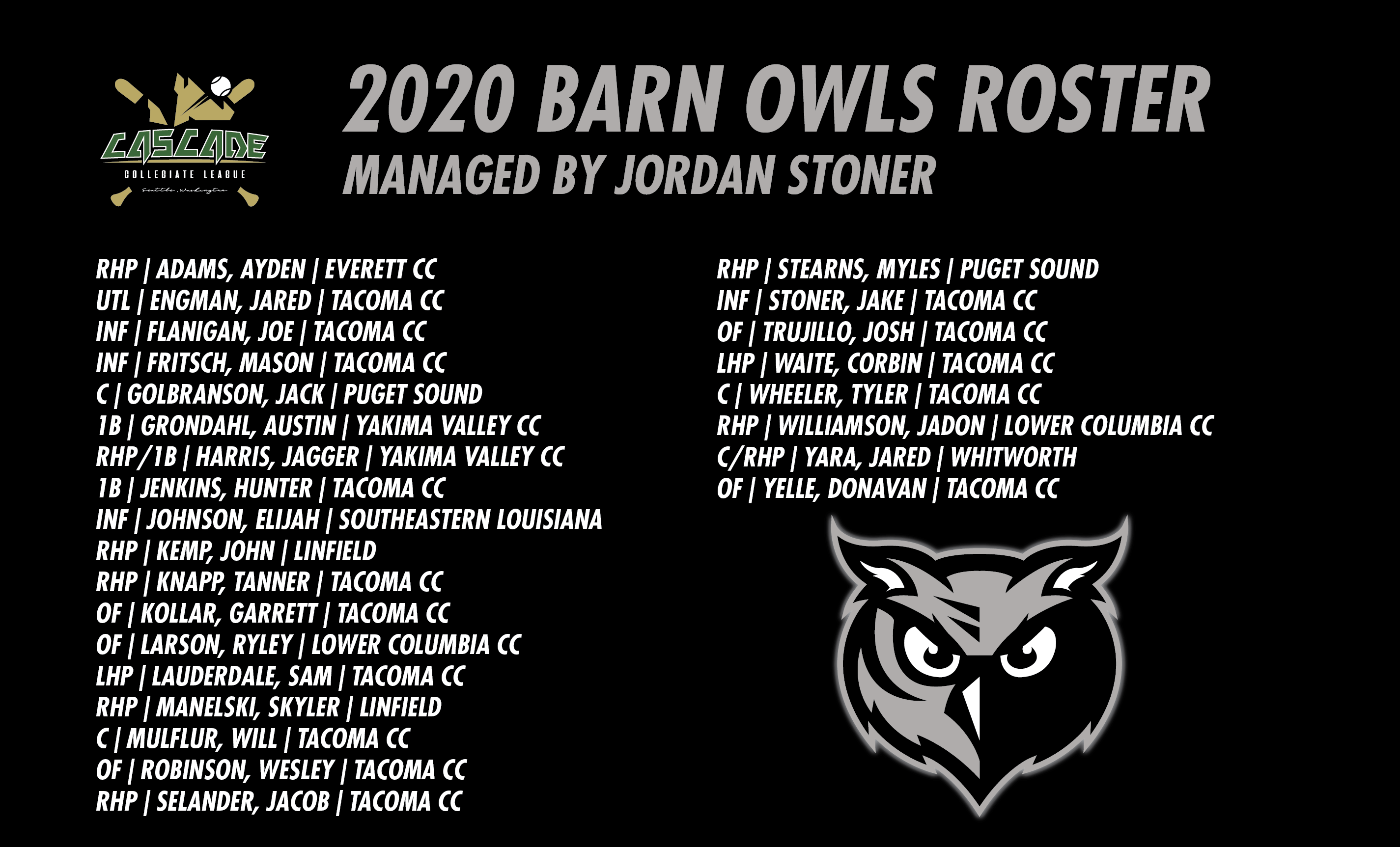 2020 BARN OWLS ROSTER