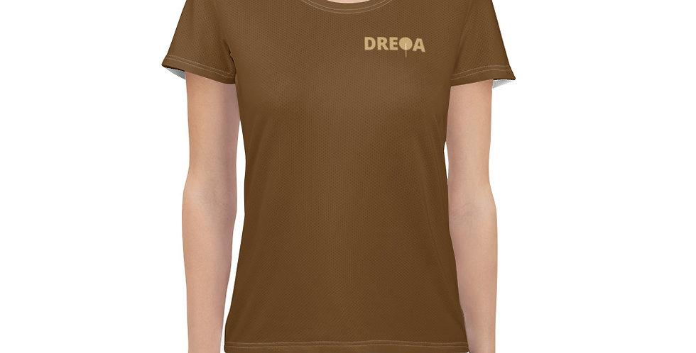 DREQA Dark Brown Table Tennis Wear Women's T-shirt