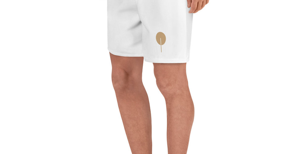 DREQA Golden Paddle Men's White Athletic Long Shorts
