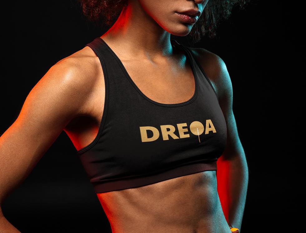DREQA Logo Black Sports bra