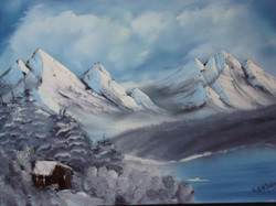 LS 1018 Winter mountain with cabin 18 x 24