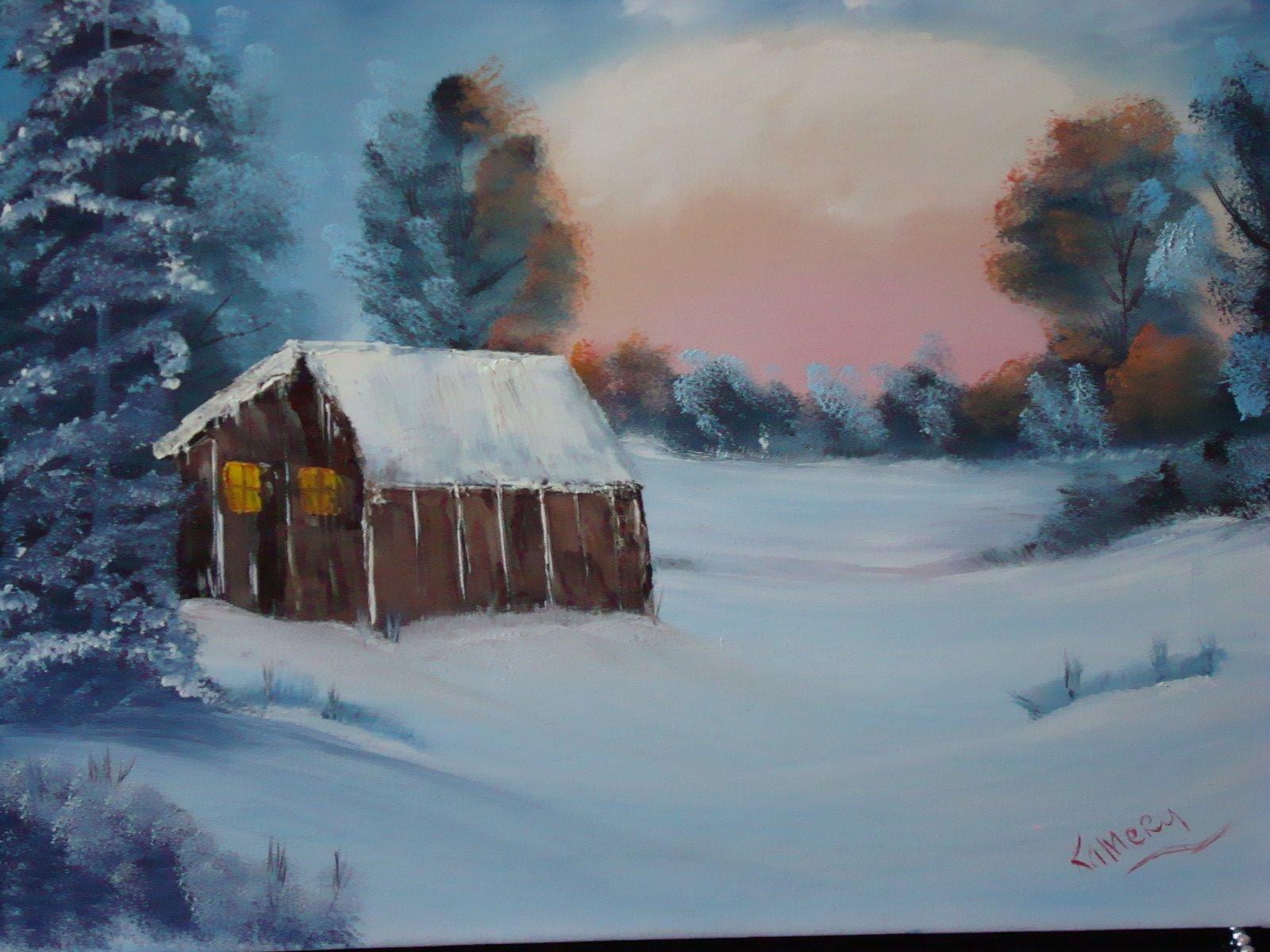 LS 10016 Winter Cabin 18 x24