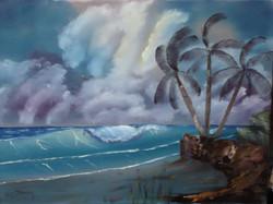 SEA 1004 Windy Waves with Palm Tree 18 x24
