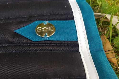 Silver crown-Tapis slim noir-blanc-bleu canard