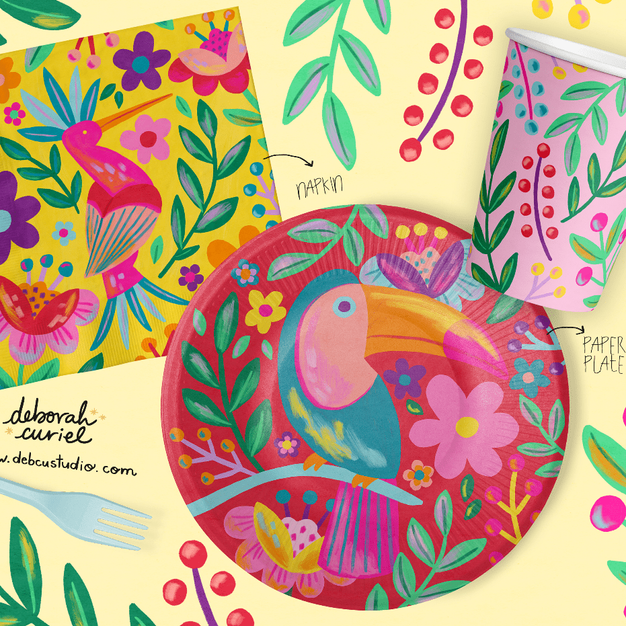 tucan_tropical_birds_flowers_ilustracion