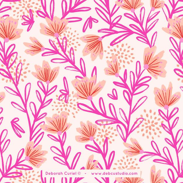 pattern_peachy_flowers_flores_floral_ill