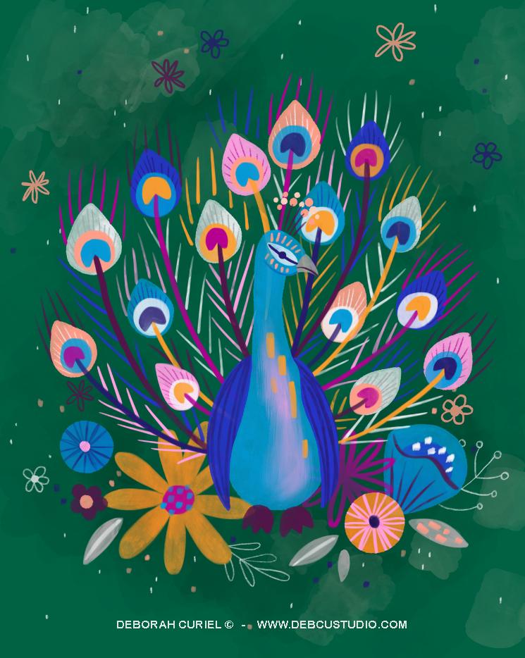 pavo_real_ilustracion_illustration_Debor