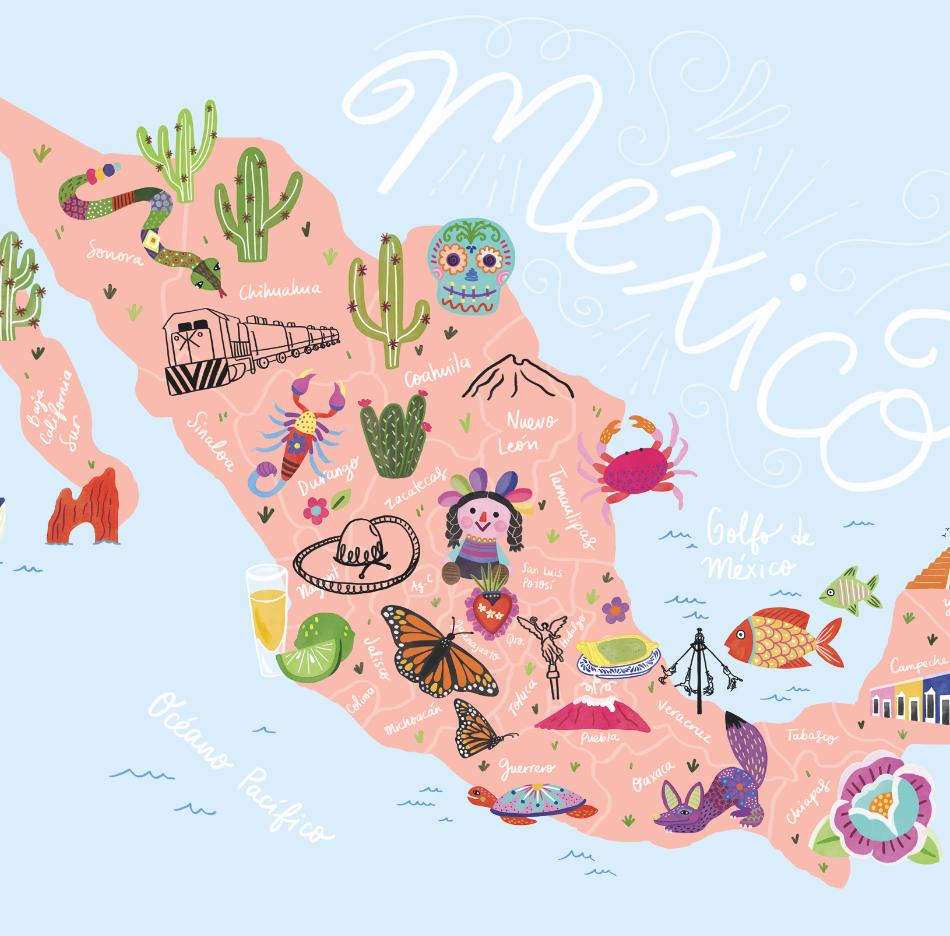 Mapa ilustrado Mexico