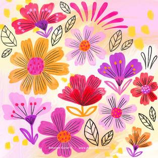 pattern_2flowers_flores_floral_illustrat