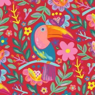 tucan_pattern_illustration_floral_patron