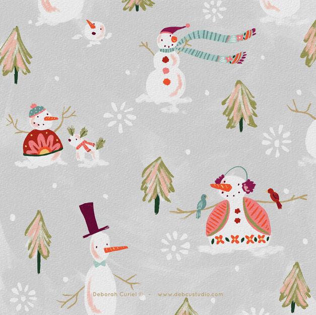 Cute_snowmans_illustration_Deborah_Debcu