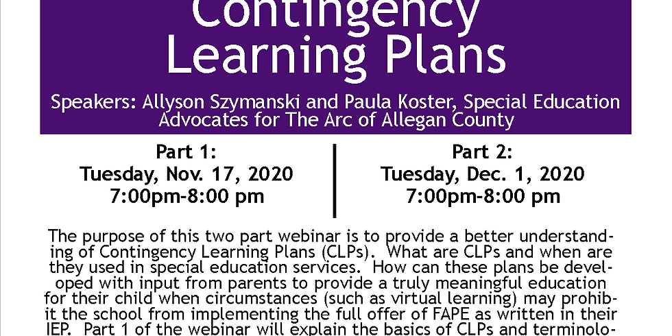 Special Education - Contingency Learning Plans