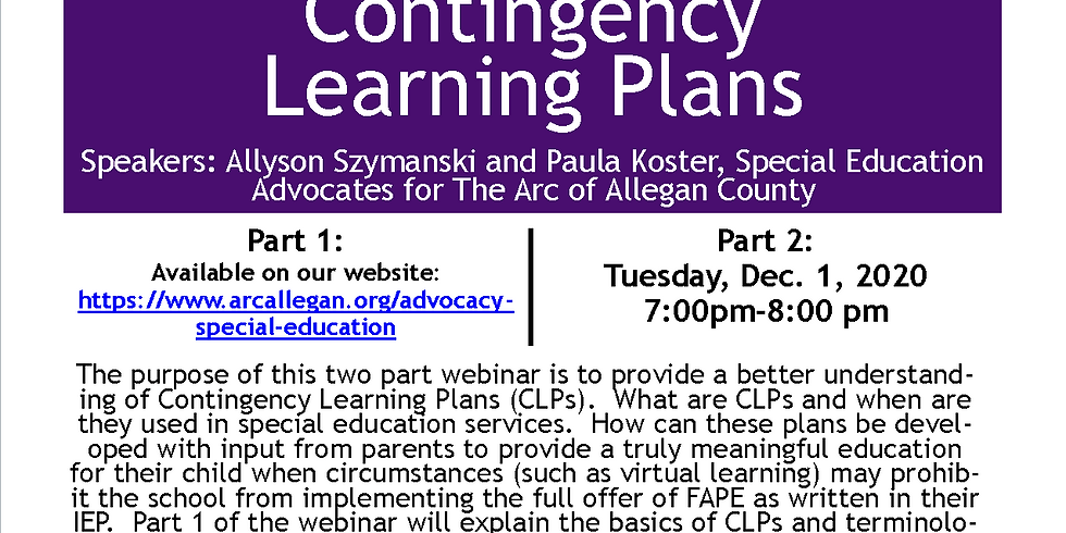 Special Education - Contingency Learning Plans Part 2