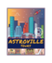 Astroville Tour's Logo, new company ran by Hispanic Houston Couple based in the 4th largest city in the United States, depicts both underground and street level view of Houston