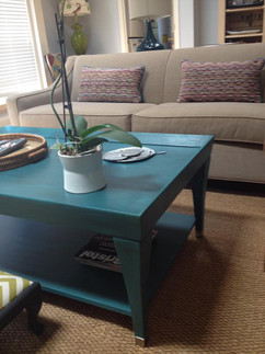 Custom Painted Coffee Table with Coordinating Pillows